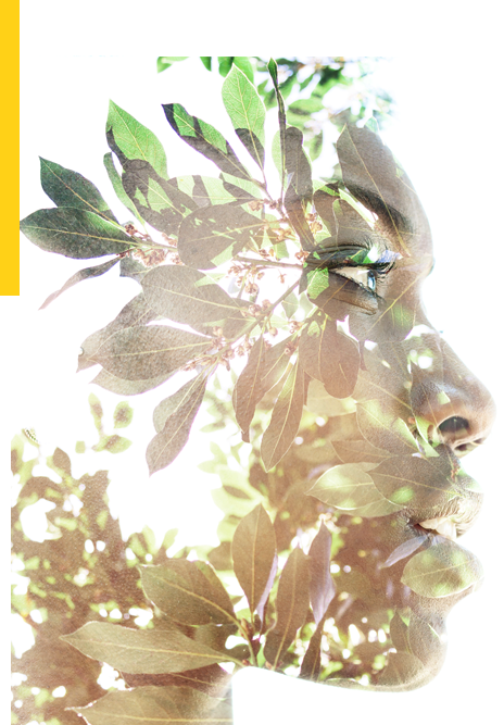 Double exposure of stoic woman's profile with growing leaves
